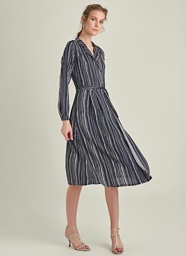 NGSTYLE Bağlamalı Anvelop Elbise Lacivert